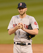 CHICAGO - MAY 03:  Chris Sale #41 of the Boston Red Sox looks on against the Chicago White Sox on May 3, 2019 at Guaranteed Rate Field in Chicago, Illinois.  (Photo by Ron Vesely)  Subject:  Chris Sale