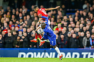 Manchester United Forward Marcus Rashford (10) and Chelsea defender Ngolo Kante (7) battle for the ball during the The FA Cup match between Chelsea and Manchester United at Stamford Bridge, London, England on 18 February 2019.