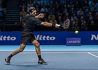 Tennis - 2019 Nitto ATP Finals at The O2 - Day One<br /> <br /> Singles Group Bjorn Borg: Roger Federer (Switzerland) vs. Dominic Thiem (Austria)<br /> <br /> Roger Federer (Switzerland) returns the play<br /> <br /> COLORSPORT/DANIEL BEARHAM