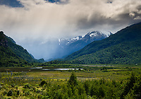 PUERTO RIO TRANQUILO, CHILE - CIRCA FEBRUARY 2019: Stormy clouds developing close to Puerto Rio Tranquilo in Chile.