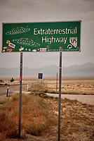 Extraterrestrial Highway Sign outside Rachel, Nevada somewhere near Area 51. Image taken with a Nikon D200 camera and 18-70 mm kit lens (ISO 400, 65 mm, f/5, 1/100 sec).