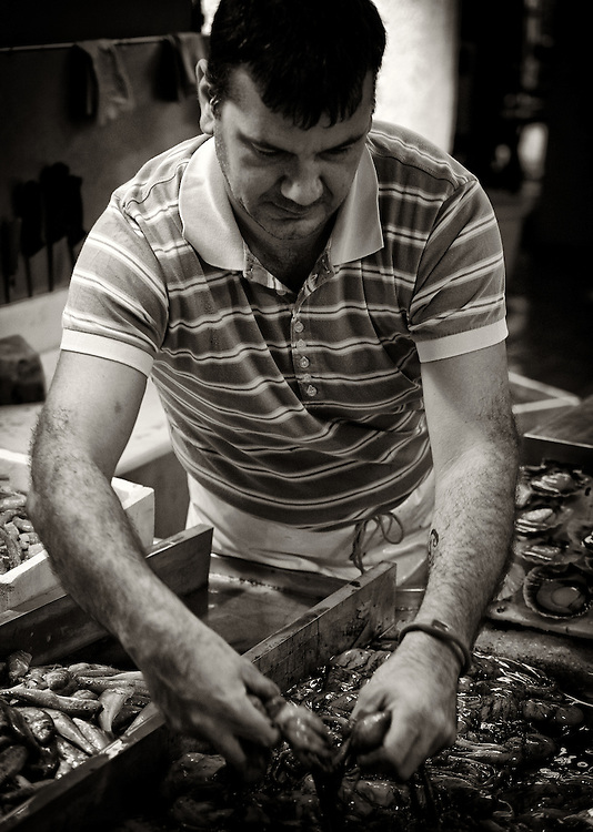 Italy - Chioggia - Seller on fish market BW