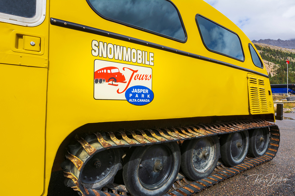 Snowmobile tour at the Athabasca Glacier, Jasper National Park, Alberta, Canada