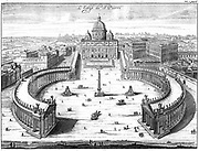 St Peter's Basilica, Rome, and the elliptical piazza and colonnades designed by Bernini (1598-1680). From 'Nouveau Voyage d'Italie', 1702. Copperplate engraving.