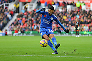 Riyad Mahrez of Leicester City takes a free kick which is blocked by the wall. Premier league match, Stoke City v Leicester City at the Bet365 Stadium in Stoke on Trent, Staffs on Saturday 4th November 2017.<br /> pic by Chris Stading, Andrew Orchard sports photography.