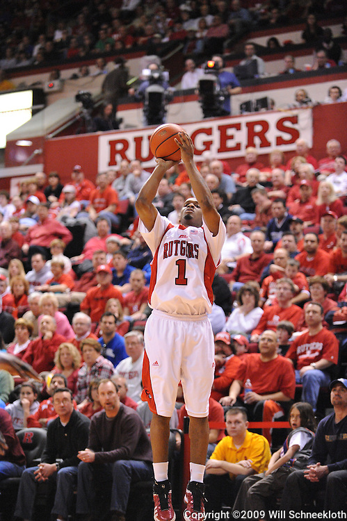 Feb 8, 2009; Piscataway, NJ, USA; Rutgers guard Corey Chandler (1) takes a three point shot during the second half of Seton Hall's 65-60 victory at the Louis Brown Athletic Center.