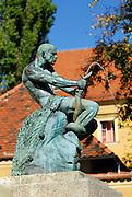 """Fisherman with Snake"" statue and fountain, Jezuitski trg (Jesuit Square), Zagreb, Croatia"
