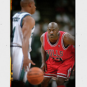 Michael Jordan keeps an eye on the The Hornets during a playoff game in Charlotte. ©Travis Bell Photography