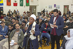 March 28, 2019 - Hamtramck, Michigan, U.S. - Hamtramck, Michigan USA - 28 March 2019 - Hundreds attended a public hearing to oppose the expansion of US Ecology's hazardous waste facility in a low-income, mostly immigrant neighborhood. Omer Abdi Nur, an immigrant from East Africa, spoke against the plan. The meeting was held by the Michigan Department of Environmental Quality, which will approve or deny the expansion permit. (Credit Image: © Jim West/ZUMA Wire)