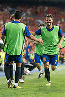 Spain's  David Villa and Pedro Rodriguez during match between Spain and Italy to clasification to World Cup 2018 at Santiago Bernabeu Stadium in Madrid, Spain September 02, 2017. (ALTERPHOTOS/Borja B.Hojas)