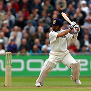 India's Sachin Tendulkar in action aganst England on the second day.