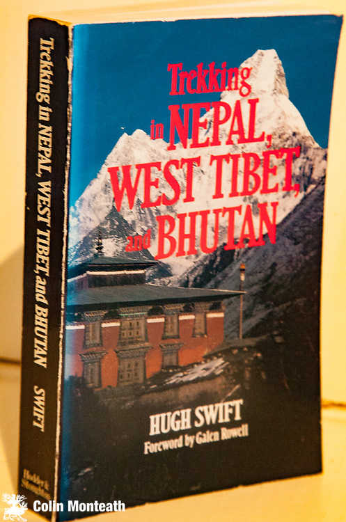 TREKKING IN NEPAL, WEST TIBET & BHUTAN - Hugh Swift, Foreword by Galen Rowell, Hodder & Stoughton, London & Auckland, 1989 First Edn., VG+  card covers, B&W plates & maps, Although some aspects of this guide book are dated Hugh Swift was an extremely knowledgeable traveller throughout Asia. There are many sections of this book that provide truly valuable insights, especially if interested in off-beat parts of Tibet, Bhutan or Nepal. Great sketch maps. NZ40
