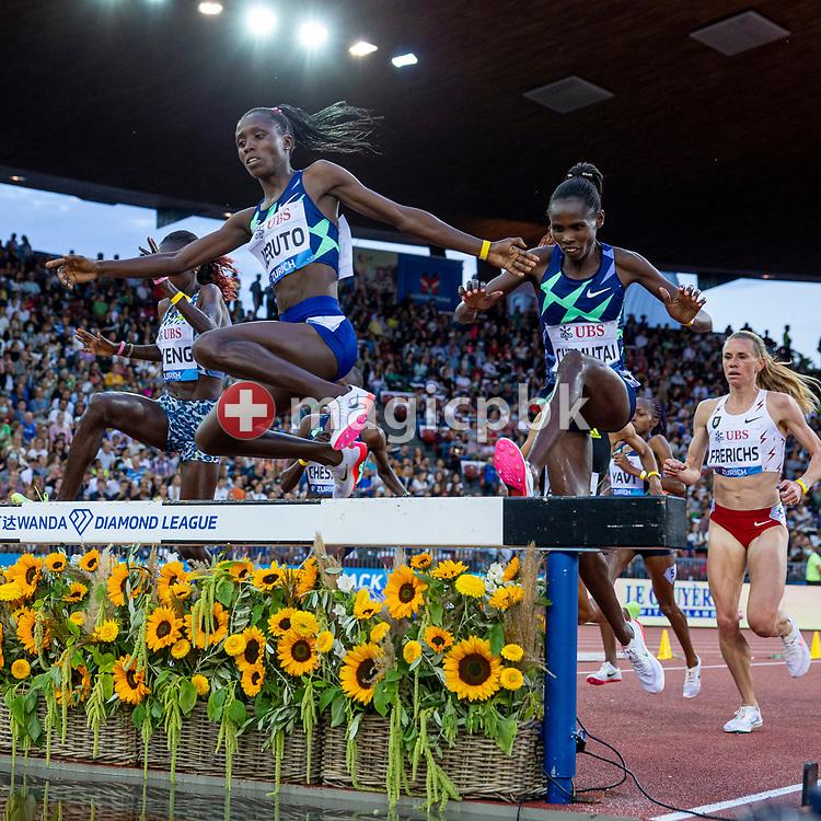 Norah Jeruto of Kenya wins the 3000m Steeplechase Women during the Iaaf Diamond League meeting (Weltklasse Zuerich) at the Letzigrund Stadium in Zurich, Switzerland, Thursday, Sept. 9, 2021. (Photo by Patrick B. Kraemer / MAGICPBK)