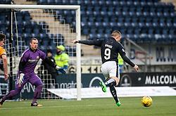 Falkirk's John Baird scoring their first goal. <br /> Falkirk 5 v 0 Alloa Athletic, Scottish Championship game played at The Falkirk Stadium. © Ross Schofield
