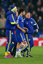 Diego Costa of Chelsea is led away by Petr Cech after he squares up to Paris Saint-Germain staff at full time after Chelsea are kncoked out on away goals - Photo mandatory by-line: Rogan Thomson/JMP - 07966 386802 - 11/03/2015 - SPORT - FOOTBALL - London, England - Stamford Bridge - Chelsea v Paris Saint-Germain - UEFA Champions League Round of 16 Second Leg.