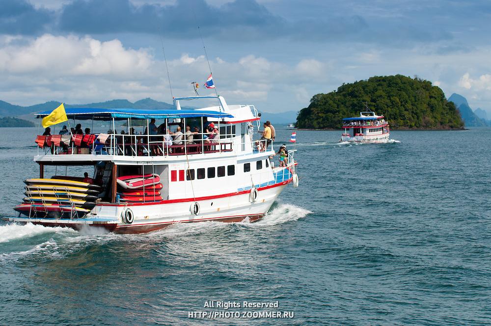 Ferries in Phang Nga marine park, Thailand