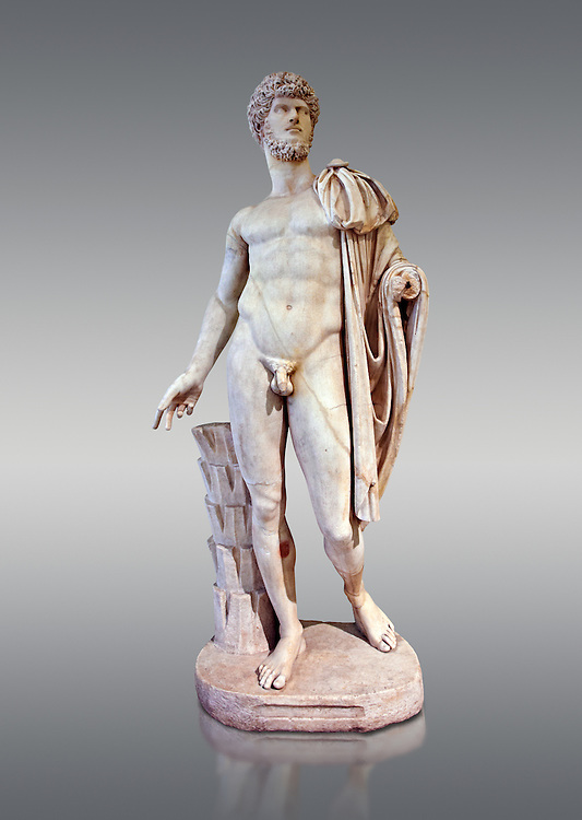 Roman marble sculpture bust of Lucius Verus with the body of Diomedes, Cuma Munich Type, 160-170 AD, inv 6095 Farnese Collection, Naples Museum of Archaeology, Italy ..<br /> <br /> If you prefer to buy from our ALAMY STOCK LIBRARY page at https://www.alamy.com/portfolio/paul-williams-funkystock/greco-roman-sculptures.html . Type -    Naples    - into LOWER SEARCH WITHIN GALLERY box - Refine search by adding a subject, place, background colour, etc.<br /> <br /> Visit our ROMAN WORLD PHOTO COLLECTIONS for more photos to download or buy as wall art prints https://funkystock.photoshelter.com/gallery-collection/The-Romans-Art-Artefacts-Antiquities-Historic-Sites-Pictures-Images/C0000r2uLJJo9_s0