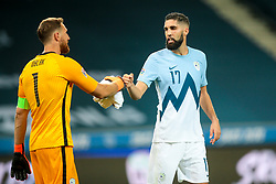 Jan Oblak of Slovenia and Miha Mevlja of Slovenia during the UEFA Nations League C Group 3 match between Slovenia and Greece at Stadion Stozice, on September 3rd, 2020. Photo by Vid Ponikvar / Sportida