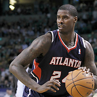10 May 2012: Atlanta Hawks small forward Marvin Williams (24) dribbles during the Boston Celtics 83-80 victory over the Atlanta Hawks, in Game 6 of the Eastern Conference first-round playoff series, at the TD Banknorth Garden, Boston, Massachusetts, USA.