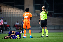Rok Kronaveter of NK Maribor and ground and Annan Mensah of FC Urartu objecting referee decision during football match between NK Maribor and FC Urartu in 1st qualifying round of UEFA Europa Conference League, on 8th of July, 2021 in Ljudski Vrt, Maribor, Slovenia. Photo by Blaž Weindorfer / Sportida