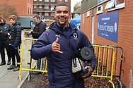 AFC Wimbledon striker Kweshi Appiah (9) arriving during the The FA Cup match between AFC Wimbledon and Doncaster Rovers at the Cherry Red Records Stadium, Kingston, England on 9 November 2019.