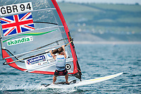 Bryony Shaw (GBR), RS:X women's windsurfer, Sailing Olympic Test Event, Weymouth, England, Photo by: Peter Llewellyn