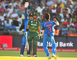 Cape Town-180207   India spin  bowler Yuzvendra Chahal celebrates his wicket after bowling out JP Duminy of South Africa for 51   with a LWB  in a ODI game at Newlands against South Africa.photograph:Phando Jikelo/African News Agency(ANA)