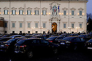 The blue cars outside of Quirinale during  meeting for the greetings from the president of the republic for the new year and Christmas   16 december  2013 . Daniele Stefanini /  OneShot