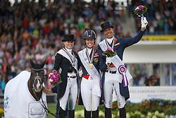 Grand Prix Special podium, Dujardin Charlotte, Sprehe Kristina, Minderhoud Hans Peter<br /> Grand Prix Special<br /> European Championships - Aachen 2015<br /> © Hippo Foto - Dirk Caremans<br /> 15/08/15