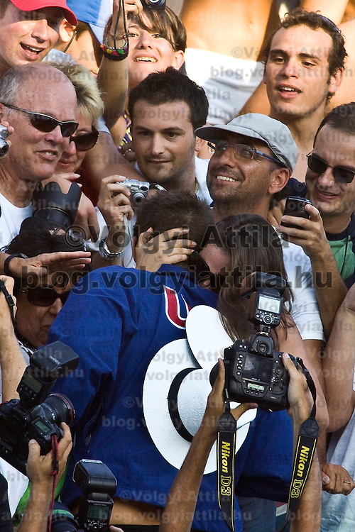 Michael Phelps with his girlfriend celebrates his victory in 200 m Men Butterfly competition he won during the 13th FINA Swimming World Championships held in Rome, Italy. Wednesday, 29. July 2009. ATTILA VOLGYI