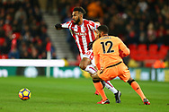 Eric Maxim Choupo-Moting of Stoke City looks to go past Joe Gomez of Liverpool. Premier league match, Stoke City v Liverpool at the Bet365 Stadium in Stoke on Trent, Staffs on Wednesday 29th November 2017.<br /> pic by Chris Stading, Andrew Orchard sports photography.