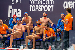 Jorn Winkelhorst, Jesse Nispeling, Pascal Janssen, Bilal Gbadamassi, Jesse Koopman of the Netherlands in action against Montenegro during the Olympic qualifying tournament. The Dutch water polo players are on the hunt for a starting ticket for the Olympic Games on February 19, 2021 in Rotterdam
