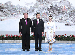 (170904) -- XIAMEN, Sept. 4, 2017 (Xinhua) -- Chinese President Xi Jinping and his wife Peng Liyuan welcome President of Tajikistan Emomali Rahmon before a banquet for those attending the ninth BRICS summit and the Dialogue of Emerging Market and Developing Countries in Xiamen, southeast China's Fujian Province, Sept. 4, 2017. (Xinhua/Ma Zhancheng) (wyl) (Photo by Xinhua/Sipa USA)