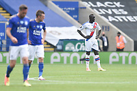 LEICESTER, ENGLAND - JULY 04: Cheikhou Kouyate of Crystal Palace (right) looks dejected after his side concede a thiord goal during the Premier League match between Leicester City and Crystal Palace at The King Power Stadium on July 4, 2020 in Leicester, United Kingdom. Football Stadiums around Europe remain empty due to the Coronavirus Pandemic as Government social distancing laws prohibit fans inside venues resulting in all fixtures being played behind closed doors. (Photo by MB Media)