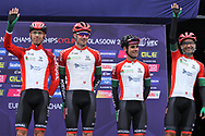 Team Portugal Rui Alberto Faria da Costa, José Gonçalves, Tiago Machado and Ricardo Vilela at the presentation during the Road Cycling European Championships Glasgow 2018, in Glasgow City Centre and metropolitan areas Great Britain, Day 11, on August 12, 2018 - Photo Laurent Lairys / ProSportsImages / DPPI