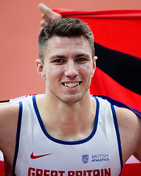 Winner Andy Pozzi of Great Britain celebrates after the 60m Hurdles Men Final on day one of the 2017 European Athletics Indoor Championships at the Kombank Arena on March 3, 2017 in Belgrade, Serbia. Photo by Vid Ponikvar / Sportida