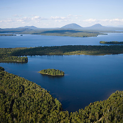 Moosehead Lake as seen from the air above Rockwood, Maine.  Northern Forest.