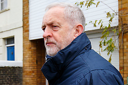 © Licensed to London News Pictures. 30/11/2015. London, UK. Labour Party leader JEREMY CORBYN leaving his house in Islington, north London on Monday, 30 November 2015.  Jeremy Corbyn has come under pressure from his own party over a potential vote on UK military involvement in Syria. Photo credit: Tolga Akmen/LNP