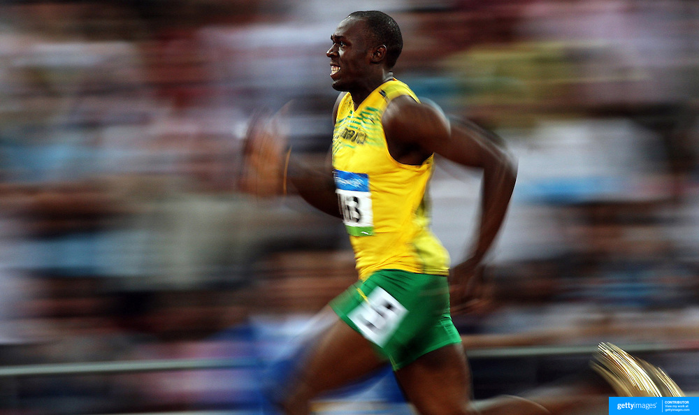 Usain Bolt of Jamaica in action during the Beijing 2008 Olympic Games. Beijing, China. 17th August 2008. Photo Tim Clayton