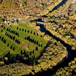 A golf course next to the Greenfield River in Greenfield, Massachusetts.