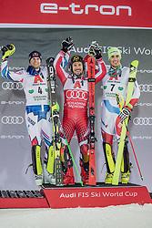 "29.01.2019, Planai, Schladming, AUT, FIS Weltcup Ski Alpin, Slalom, Herren, Siegerehrung, im Bild v.l.: 2. Platz Alexis Pinturault (FRA), Sieger Marcel Hirscher (AUT), 3. platz Daniel Yule (SUI) // f.l.: 2nd placed Alexis Pinturault of France Winner Marcel Hirscher of Austria 3rd placed Daniel Yule of Switzerland during the winner Ceremony for the men's Slalom ""the Nightrace"" of FIS ski alpine world cup at the Planai in Schladming, Austria on 2019/01/29. EXPA Pictures © 2019, PhotoCredit: EXPA/ Dominik Angerer"