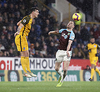Brighton & Hove Albion's Lewis Dunk vies for possession with Burnley's Ashley Barnes<br /> <br /> Photographer Rich Linley/CameraSport<br /> <br /> The Premier League - Burnley v Brighton and Hove Albion - Saturday 8th December 2018 - Turf Moor - Burnley<br /> <br /> World Copyright © 2018 CameraSport. All rights reserved. 43 Linden Ave. Countesthorpe. Leicester. England. LE8 5PG - Tel: +44 (0) 116 277 4147 - admin@camerasport.com - www.camerasport.com