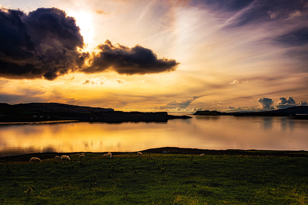 The sun sets over the gap in Loch Harport looking toward South Uist and Boisdale some 45 miles on the horizon. The evening glow lights up the sheep and casts shaddowy reflections on the still waters of the loch while myriad cloud formations are scattered above.