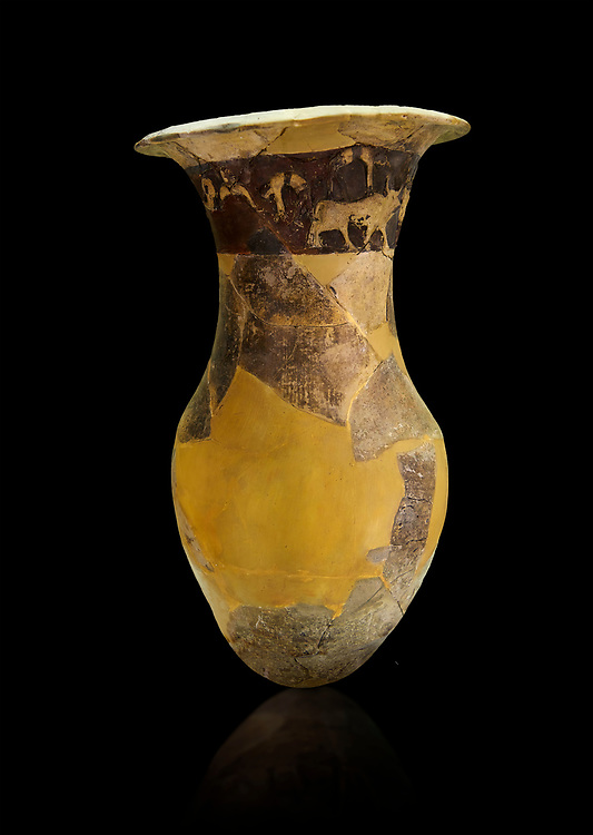 Hüseyindede vases, Old Hittite Po;ychrome Relief vessel, partially finished, 16th century BC. Çorum Archaeological Museum, Corum, Turkey. Against a black bacground..<br />  <br /> If you prefer to buy from our ALAMY STOCK LIBRARY page at https://www.alamy.com/portfolio/paul-williams-funkystock/hittite-art-antiquities.html  - Type Pottery Corum into the LOWER SEARCH WITHIN GALLERY box. Refine search by adding background colour, place, museum etc<br /> <br /> Visit our HITTITE PHOTO COLLECTIONS for more photos to download or buy as wall art prints https://funkystock.photoshelter.com/gallery-collection/The-Hittites-Art-Artefacts-Antiquities-Historic-Sites-Pictures-Images-of/C0000NUBSMhSc3Oo .<br /> <br /> If you prefer to buy from our ALAMY STOCK LIBRARY page at https://www.alamy.com/portfolio/paul-williams-funkystock/hittite-art-antiquities.html  - Huseyindede into the LOWER SEARCH WITHIN GALLERY box. Refine search by adding background colour, place, museum etc<br /> <br /> Visit our HITTITE PHOTO COLLECTIONS for more photos to download or buy as wall art prints https://funkystock.photoshelter.com/gallery-collection/The-Hittites-Art-Artefacts-Antiquities-Historic-Sites-Pictures-Images-of/C0000NUBSMhSc3Oo