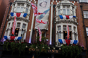 Soho celebrates the Queen's Diamnond Jubilee weeks before the Olympics come to London. The UK gears enjoys a weekend and summer of patriotic fervour as their monarch celebrates 60 years on the throne. Across Britain, flags and Union Jack bunting adorn towns and villages.