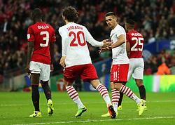 Manolo Gabbiadini of Southampton celebrates after scoring his sides first goal to make it 2-1 - Mandatory by-line: Matt McNulty/JMP - 26/02/2017 - FOOTBALL - Wembley Stadium - London, England - Manchester United v Southampton - EFL Cup Final