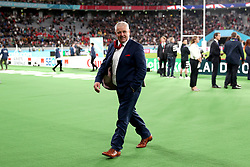 Wales' Warren Gatland appears dejected as he leaves teh pitch after the final whistle of the 2019 Rugby World Cup bronze final match at Tokyo Stadium.
