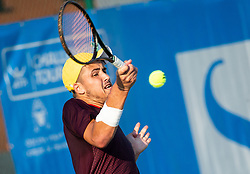 Aljaz Jakob Kaplja (SLO) playing doubles during Day 4 of ATP Challenger Zavarovalnica Sava Slovenia Open 2018, on August 6, 2018 in Sports centre, Portoroz/Portorose, Slovenia. Photo by Vid Ponikvar / Sportida