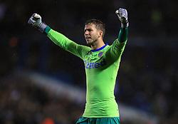 Leeds United goalkeeper Felix Wiedwald celebrates