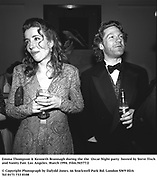 Emma Thompson & Kenneth Brannagh during the the  Oscar Night party hosted by Steve Tisch and Vanity Fair. Los Angeles. March 1994. Film.94577/2<br />© Copyright Photograph by Dafydd Jones<br />66 Stockwell Park Rd. London SW9 0DA<br />Tel 0171 733 0108